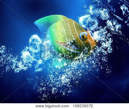 Exotic tropical fish in clear crystal blue water