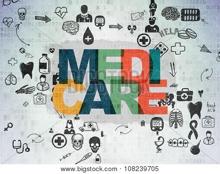 Health concept: Medicare on Digital Paper background
