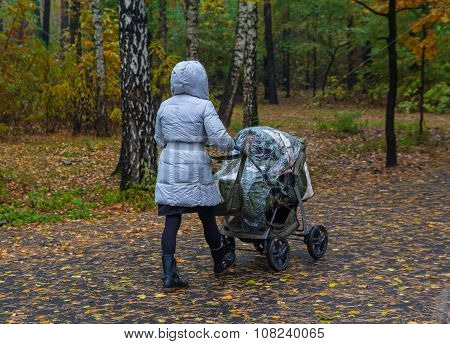 Mother With Stroller Walking On A Rainy Day In Autumn Park