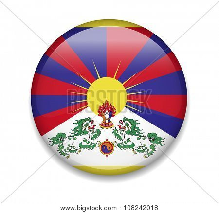 Tibet Button Flag