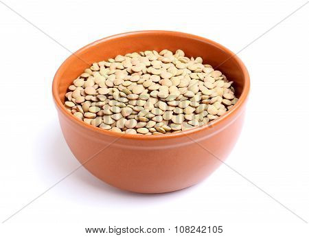 Dry Lentils In A Bowl.
