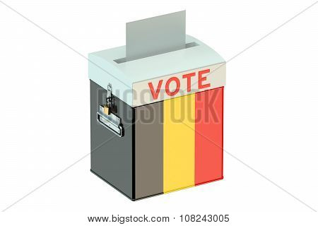 Voting Concept With Flag Of Belgium On Ballot Box
