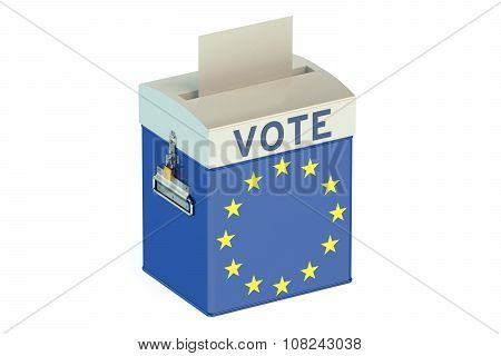 Voting Concept With Flag Of Eu On Ballot Box