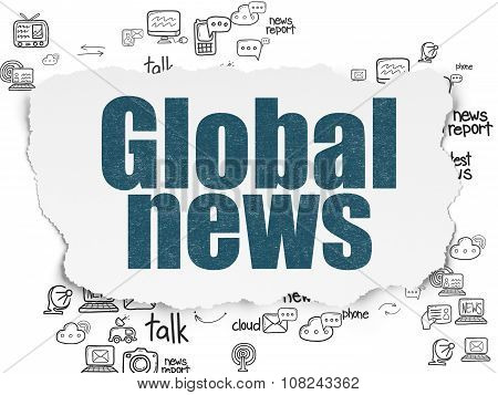 News concept: Global News on Torn Paper background