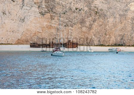View Of Navagio Beach On Zakynthos Island