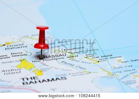 Nassau pinned on a map of America