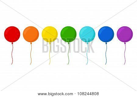 Balloons. Balloons set in rainbow colors.