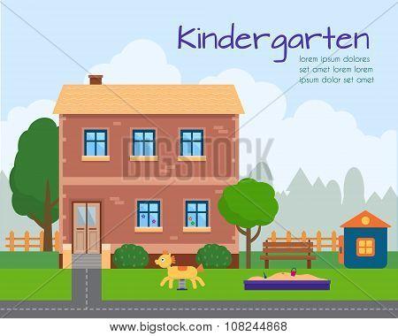 Kindergarten building with kids playground.