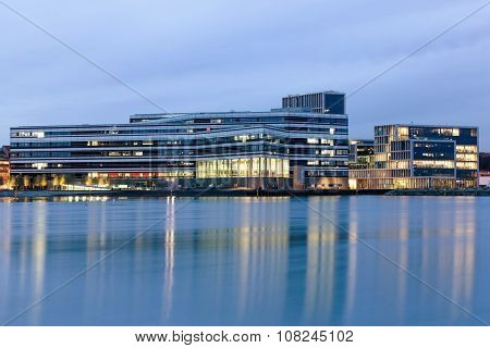 Aarhus harbor at the blue hour, Denmark