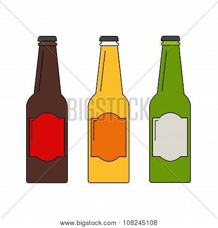 Beer bottle. Beer bottles set with three colored bottles.