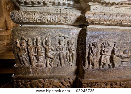 Active People Make Puja Around Shiva Lingam On Carved Wall Of Hindu Temple