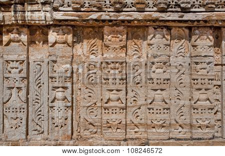 Patterns On Carved Walls Of Hindu Temple