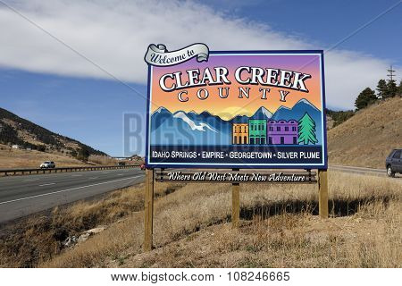 Colorful Clear Creek County Sign