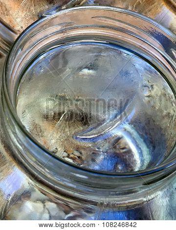 Brittle Crust of Ice in Glass Jar