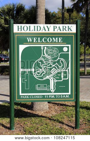 Holiday Park Welcome Sign