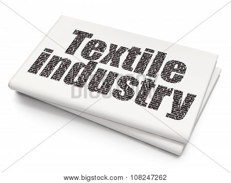 Manufacuring concept: Textile Industry on Blank Newspaper background