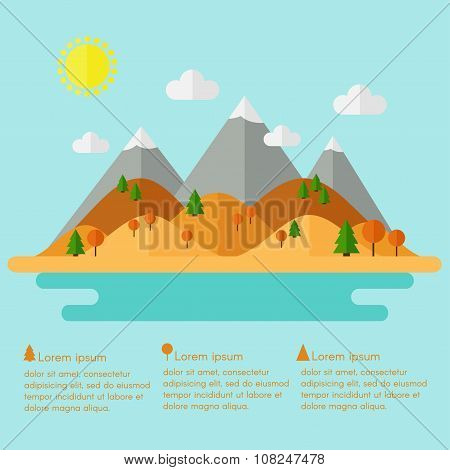 Landscape. Isolated nature landscape with mountains.
