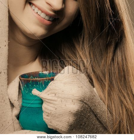 Beverage. Girl Drinking Hot Drink Tea Coffee From Cup