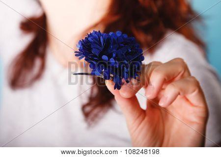 Navy Blue Flower Hairpin In Female Hand
