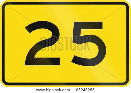 New Zealand Road Sign - Advisory Speed Of 25 Kmh