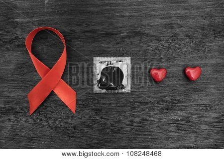 Aids Ribbon, Condom And Hearts