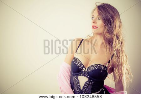 Sexy Posing Woman Wearing Lingerie