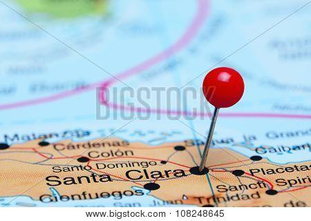 Santa Clara pinned on a map of America