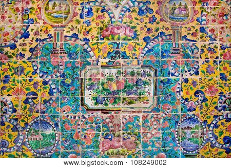 Flowers Of Colorful Ceramic Tiles On The Wall Of The Old Royal Palace, Iran