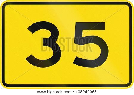 New Zealand Road Sign - Advisory Speed Of 35 Kmh