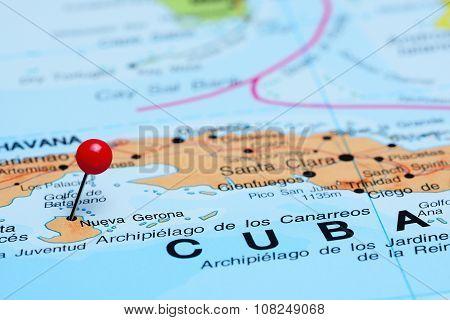 Nueva Gerona pinned on a map of America