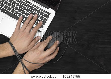 Hands  Of Man Addicted To Computer, Internet Slave