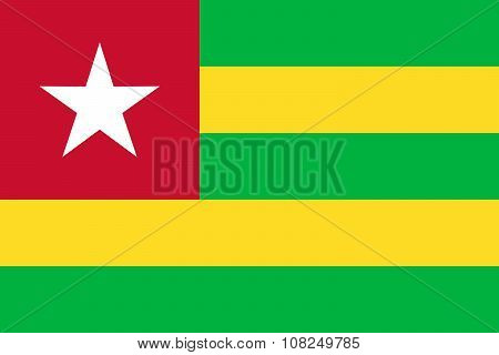 National Flag Of Togolese Republic (togo) In Official Colors And Proportions