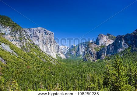 Amazing Mountains Shot From High Point In Yosemite National Park In California. Hdr Image.
