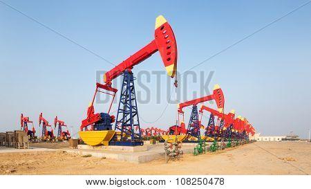 landscape of oilfield in blue sky