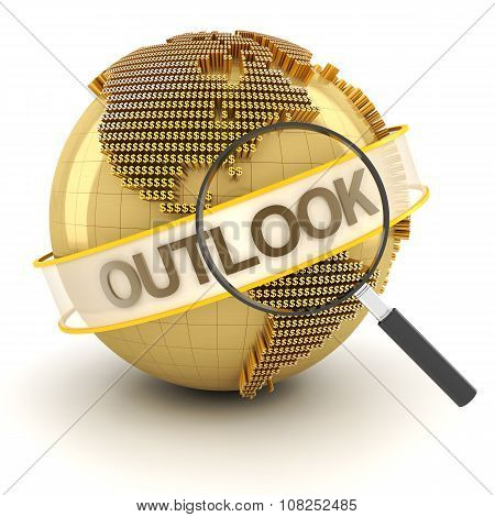 Global financial outlook symbol with globe, 3d render