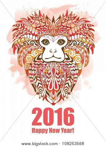 Patterned Head of the Lion Tamarin. Year of Monkey 2016 Color Background.