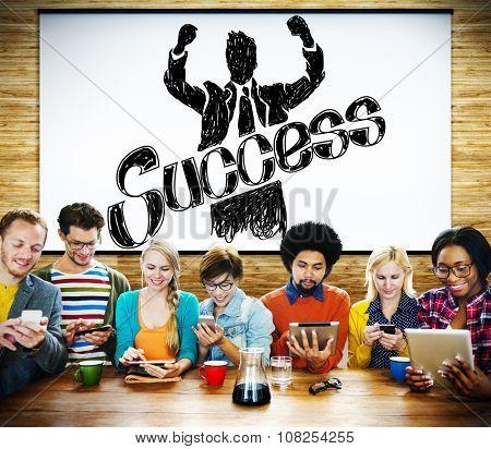 Success Achievement Winning Gain Profit Concept