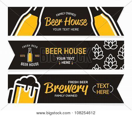 Vector beer horizontal vintage banners.