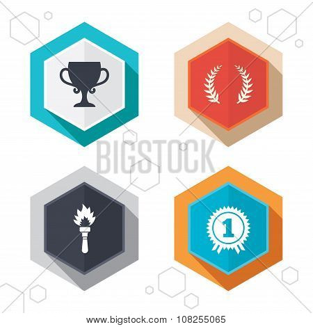 First place award cup icons. Prize for winner.