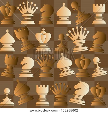 Vector seamless pattern with chess piece.