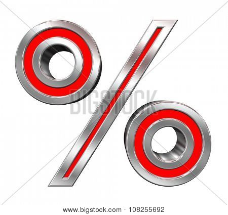 Percent sign from red with chrome frame alphabet set, isolated on white. Computer generated 3D photo rendering.