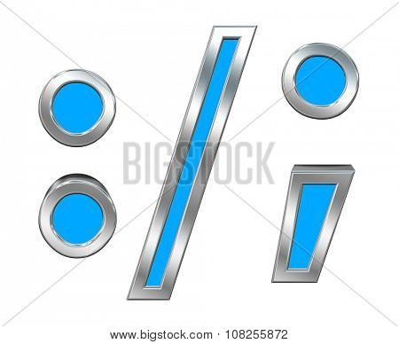 Colon, semicolon, period, comma sign from light blue with chrome frame alphabet set, isolated on white. Computer generated 3D photo rendering.