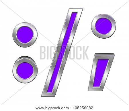 Colon, semicolon, period, comma sign from purple with chrome frame alphabet set, isolated on white. Computer generated 3D photo rendering.