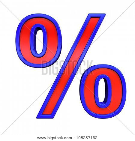 Percent sign from red glass with blue frame alphabet set, isolated on white. Computer generated 3D photo rendering.