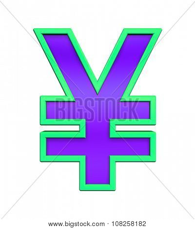 Yen sign from violet glass with green frame alphabet set, isolated on white. Computer generated 3D photo rendering.