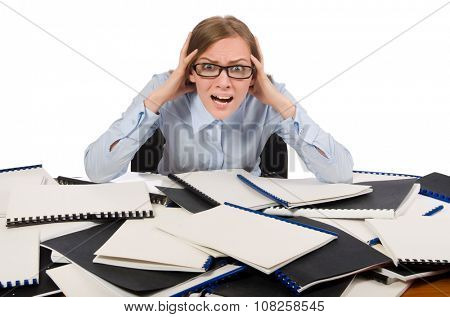 Office employee at work table with documents isolated on white