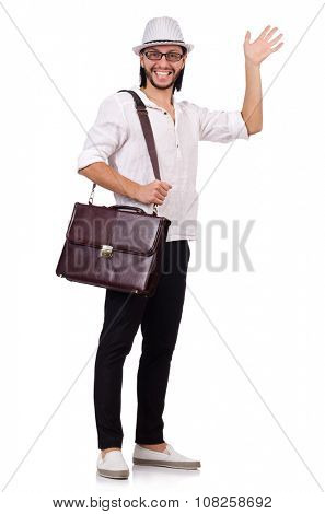 Young man with handbag and hat isolated on white