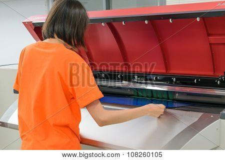 Woman Work In Printery