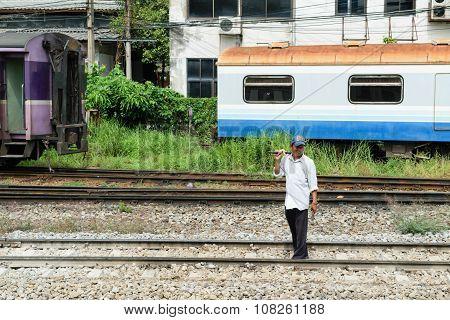 Checking The Railroad Tracks