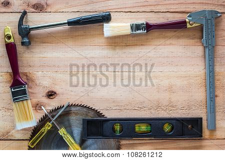 Carpenter Tools On Wood Board